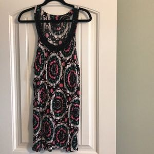 INC pink and black tunic